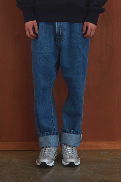 BACK BANDING MALE DENIM PANTS INDIGO