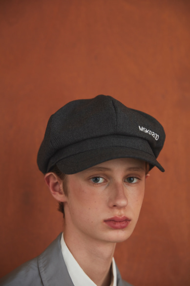 MSKN2ND LOGO NEWSBOY CAP CHARCOAL