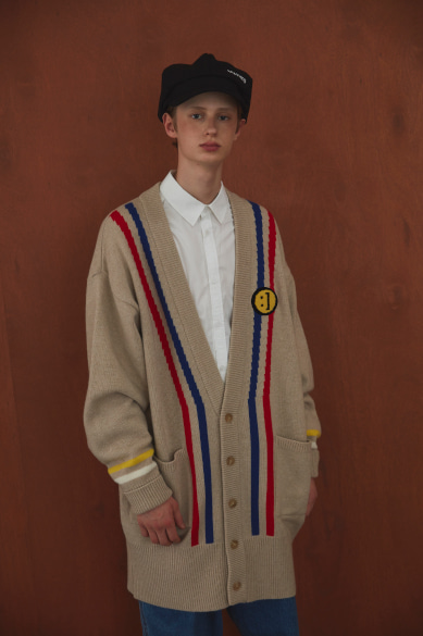 [빅톤 최병찬 착용] SM:]E PATCH STRIPED DETAIL LONG CARDIGAN BEIGE
