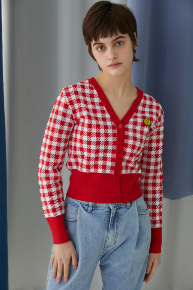 SM:]E PATCH FEMALE CROP CARDIGAN RED CHECK