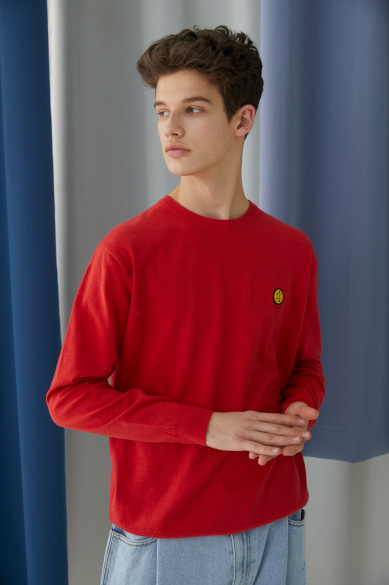 SM:]E PATCH SWEATER RED