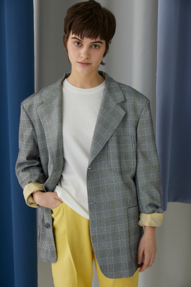 [권현빈 착용] JOSH OVERSIZED BLAZER GRAY CHECK