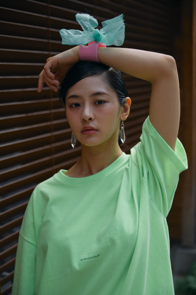 MINI LOGO OVERSIZED T-SHIRT NEON GREEN