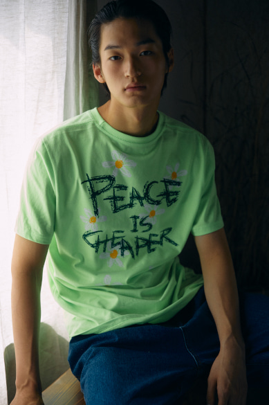 PEACE IS CHEAPER T-SHIRT NEON GREEN