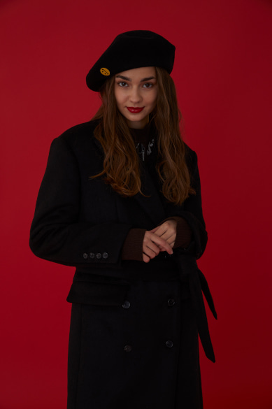 SM:]E PATCH WOOL BERET BLACK
