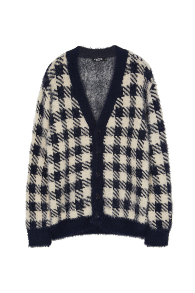 [ITZY 예지, 유선호 착용] CHECK EYELASH YARN CARDIGAN NAVY CHECK