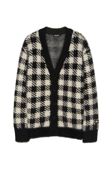 [트와이스 사나 착용] CHECK EYELASH YARN CARDIGAN BLACK CHECK