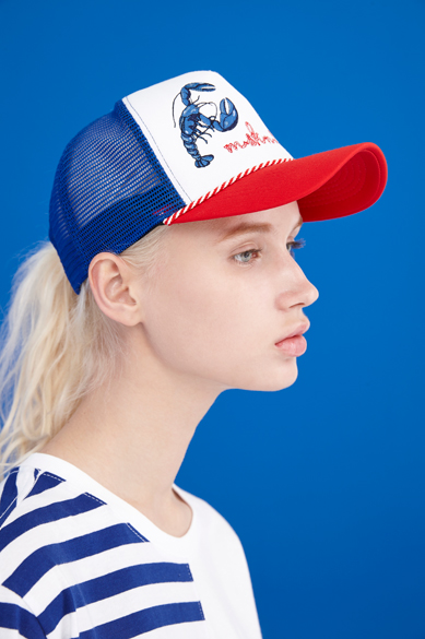 LOBSTER TRUCKER HAT ROYAL BLUE + RED