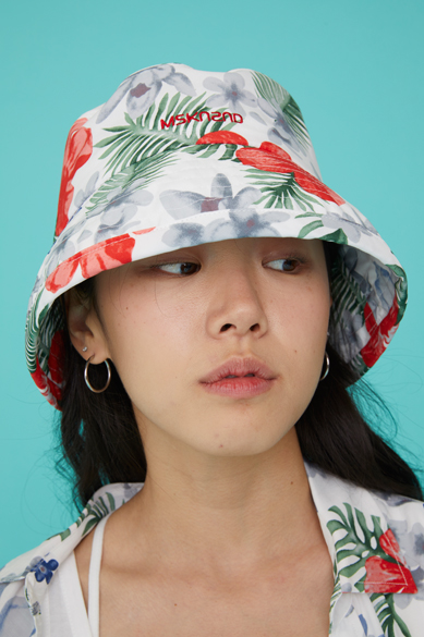 FLORAL BUCKET HAT WHITE