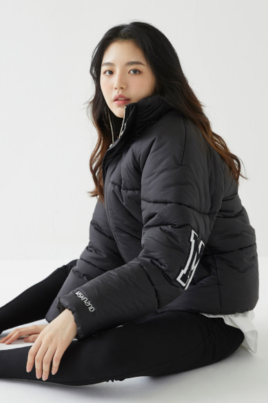 [윤지성 착용]ELBOW M PATCH SHORT PADDED JACKET MATT BLACK