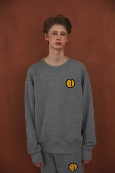 SM:]E PATCH SWEATSHIRT GRAY MELANGE