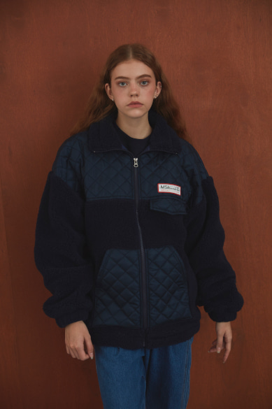[양세형 착용] LENTICULAR PATCH FLEECE ZIP UP JACKET NAVY