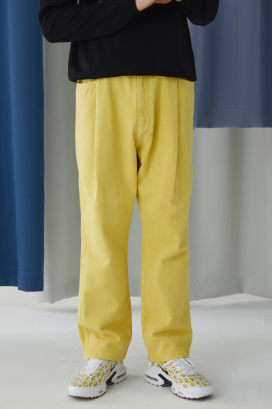 BACK BANDING MALE DENIM PANTS YELLOW