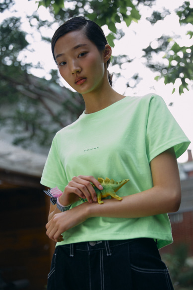 MINI LOGO CROP T-SHIRT NEON GREEN