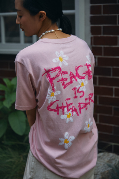 PEACE IS CHEAPER T-SHIRT INDIE PINK