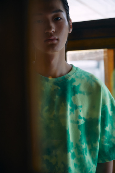 TIE DYE MINI LOGO OVERSIZED T-SHIRT NEON GREEN