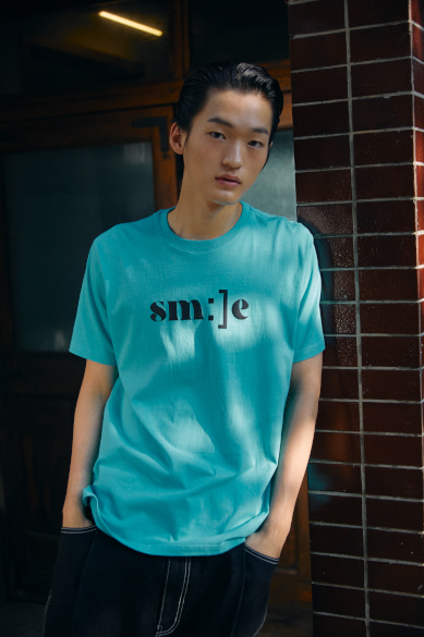 SM:]E PRINTED T-SHIRT CYAN BLUE
