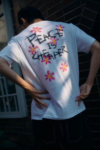 PEACE IS CHEAPER T-SHIRT WHITE