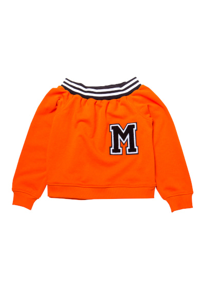 [마지막상품구매가능] M PATCH OFF-SHOULDER SWEATSHIRT ORANGE