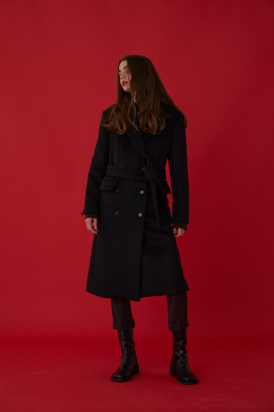 CHAIN LONG COAT BLACK