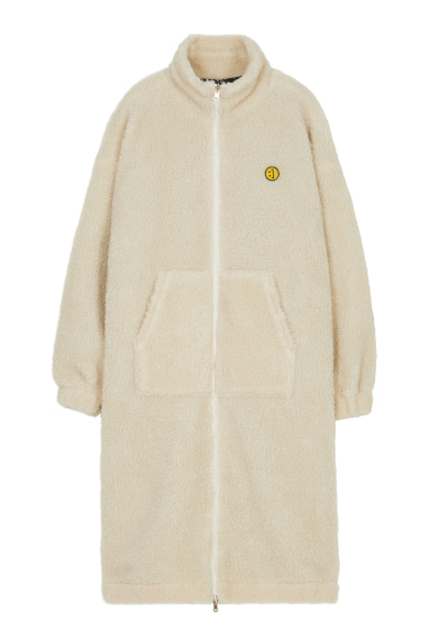 SM:]E PATCH FLEECE ZIP UP REVERSIBLE LONG JACKET IVORY