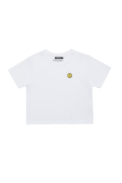 SM:]E PATCH CROP T-SHIRT WHITE
