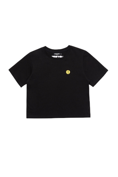 SM:]E PATCH CROP T-SHIRT BLACK