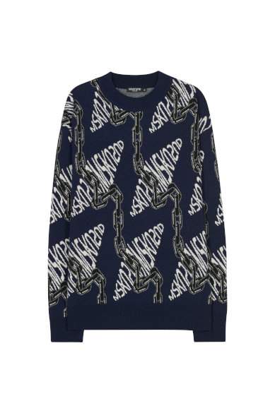 CHAIN JACQUARD SWEATER NAVY