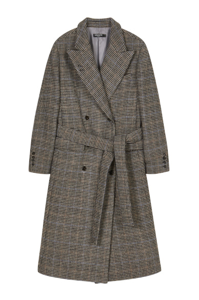 CHECK CHAIN LONG COAT BROWN CHECK