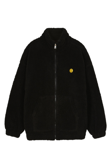 SM:]E PATCH FLEECE ZIP UP REVERSIBLE JACKET BLACK