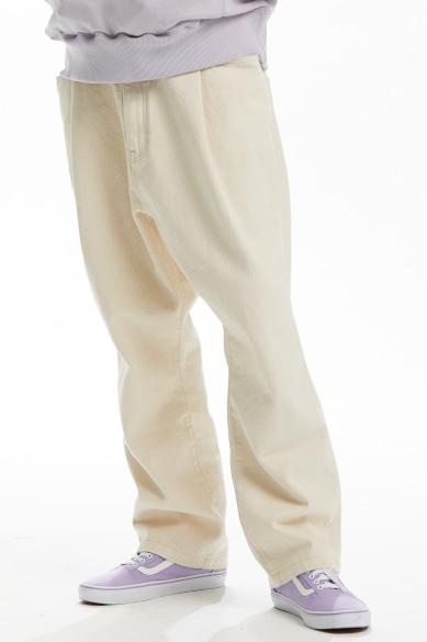 BACK BANDING MALE DENIM PANTS IVORY