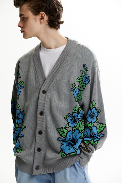 HAWAIIAN PATTERN JACQUARD CARDIGAN GRAY