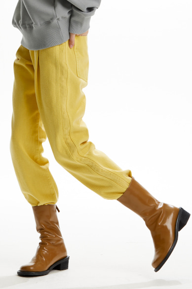 [이유비 착용] BACK BANDING FEMALE DENIM PANTS YELLOW