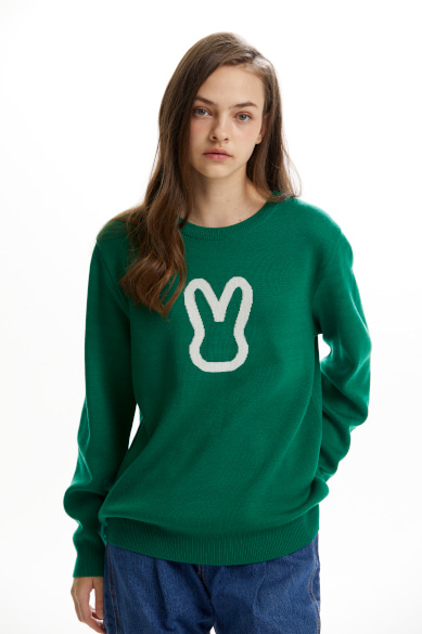 [최강창민 착용] MOON BUNNY SWEATER GREEN