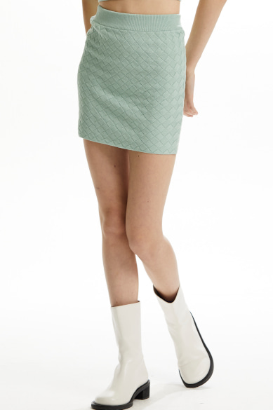 WEAVING PATTERN MINI SKIRT MINT